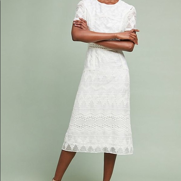ac222ca882f28 🌿 Anthropologie white eyelet midi wedding dress NWT
